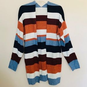 Long Sleeved Striped Open Duster Sweater XL